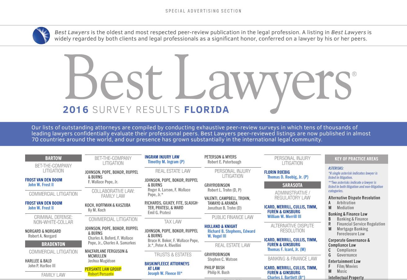 Best Lawyers 2016 Robert Persante